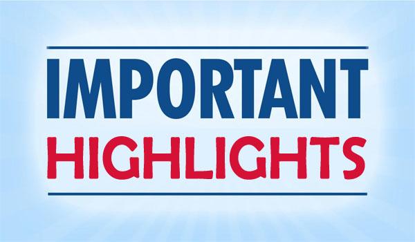 Important Highlights - 18th May 2019