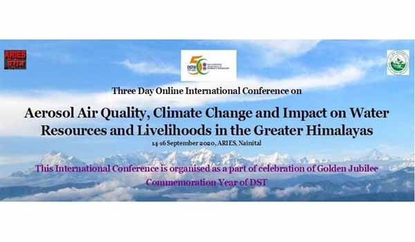 ARIES Nainital will organize Online International Conference on 'Aerosol Air Quality, Climate Change'