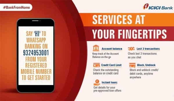 Due to Coronavirus, ICICI Bank launched banking services on WhatsApp