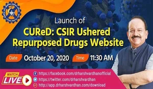 Health Minister launched CUReD website on Repurposed Drugs for Covid-19