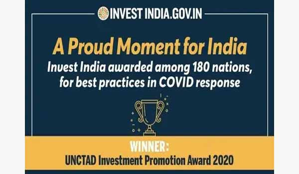 Invest India won UNCTAD 2020 Award